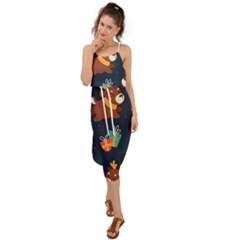 Colorful Funny Christmas Pattern Waist Tie Cover Up Chiffon Dress