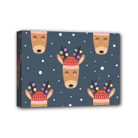 Cute Deer Heads Seamless Pattern Christmas Mini Canvas 7  X 5  (stretched) by Vaneshart