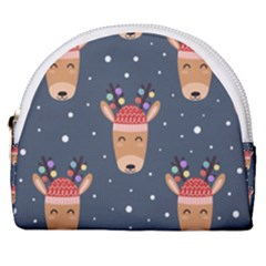Cute Deer Heads Seamless Pattern Christmas Horseshoe Style Canvas Pouch by Vaneshart