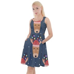 Cute Deer Heads Seamless Pattern Christmas Knee Length Skater Dress With Pockets
