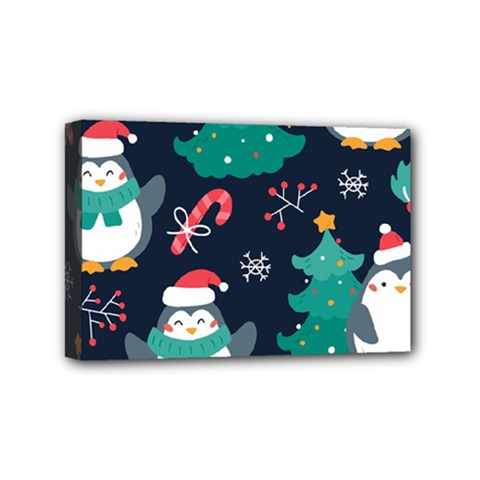 Colorful Funny Christmas Pattern Mini Canvas 6  X 4  (stretched) by Vaneshart