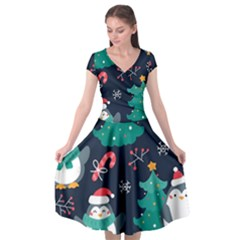 Colorful Funny Christmas Pattern Cap Sleeve Wrap Front Dress
