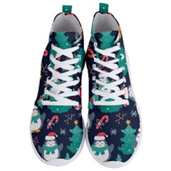 Colorful Funny Christmas Pattern Men s Lightweight High Top Sneakers
