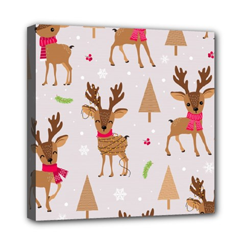 Christmas Seamless Pattern With Reindeer Mini Canvas 8  X 8  (stretched) by Vaneshart