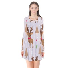 Christmas Seamless Pattern With Reindeer Long Sleeve V Neck Flare Dress