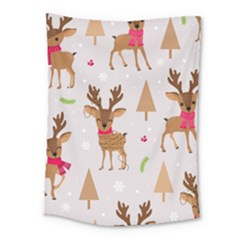 Christmas Seamless Pattern With Reindeer Medium Tapestry