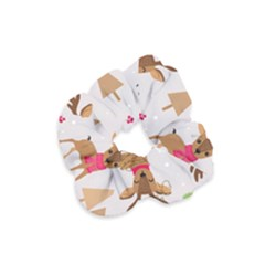 Christmas Seamless Pattern With Reindeer Velvet Scrunchie