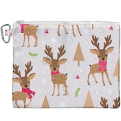 Christmas Seamless Pattern With Reindeer Canvas Cosmetic Bag (xxxl)