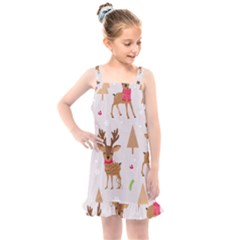 Christmas Seamless Pattern With Reindeer Kids  Overall Dress