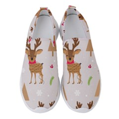 Christmas Seamless Pattern With Reindeer Women s Slip On Sneakers