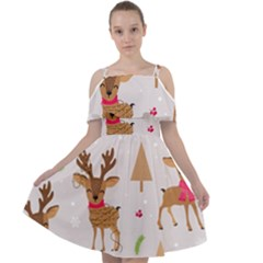 Christmas Seamless Pattern With Reindeer Cut Out Shoulders Chiffon Dress