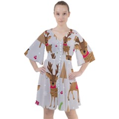 Christmas Seamless Pattern With Reindeer Boho Button Up Dress