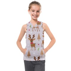 Christmas Seamless Pattern With Reindeer Kids  Sleeveless Hoodie by Vaneshart