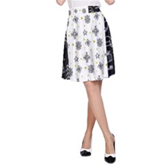 Black Golden Christmas Pattern Collection A Line Skirt