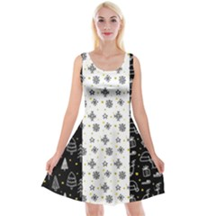 Black Golden Christmas Pattern Collection Reversible Velvet Sleeveless Dress