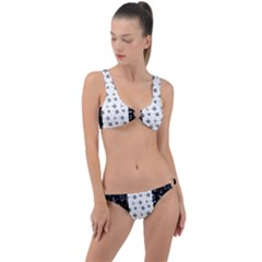 Black Golden Christmas Pattern Collection Ring Detail Crop Bikini Set