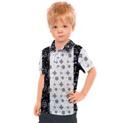 Black Golden Christmas Pattern Collection Kids  Polo Tee