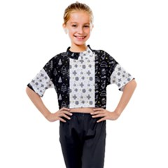 Black Golden Christmas Pattern Collection Kids Mock Neck Tee