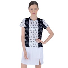Black Golden Christmas Pattern Collection Women s Sports Top