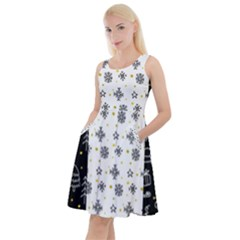 Black Golden Christmas Pattern Collection Knee Length Skater Dress With Pockets