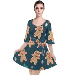 Colourful Funny Christmas Pattern Velour Kimono Dress