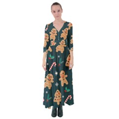 Colourful Funny Christmas Pattern Button Up Maxi Dress