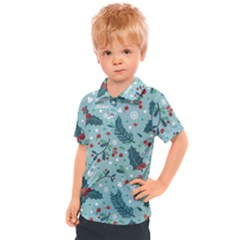 Seamless Pattern With Berries Leaves Kids  Polo Tee