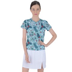 Seamless Pattern With Berries Leaves Women s Sports Top