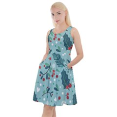 Seamless Pattern With Berries Leaves Knee Length Skater Dress With Pockets