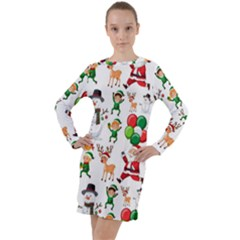 Seamless Pattern Christmas Long Sleeve Hoodie Dress