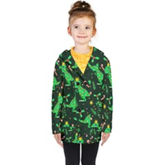 Christmas Funny Pattern Dinosaurs Kids  Double Breasted Button Coat