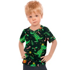 Christmas Funny Pattern Dinosaurs Kids  Sports Tee