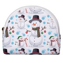 Christmas Snowman Seamless Pattern Horseshoe Style Canvas Pouch by Vaneshart