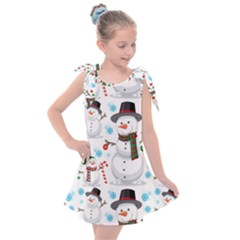 Christmas Snowman Seamless Pattern Kids  Tie Up Tunic Dress