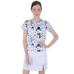 Christmas Snowman Seamless Pattern Women s Sports Top