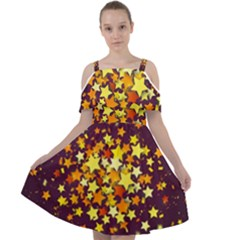 Colorful Confetti Stars Paper Particles Scattering Randomly Dark Background With Explosion Golden St Cut Out Shoulders Chiffon Dress