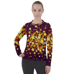 Colorful Confetti Stars Paper Particles Scattering Randomly Dark Background With Explosion Golden St Women s Pique Long Sleeve Tee
