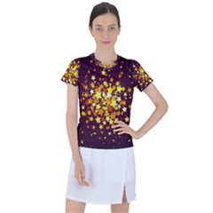 Colorful Confetti Stars Paper Particles Scattering Randomly Dark Background With Explosion Golden St Women s Sports Top