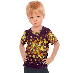 Colorful Confetti Stars Paper Particles Scattering Randomly Dark Background With Explosion Golden St Kids  Sports Tee