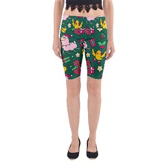 Funny Decoration Christmas Pattern Background Yoga Cropped Leggings