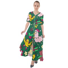 Funny Decoration Christmas Pattern Background Waist Tie Boho Maxi Dress