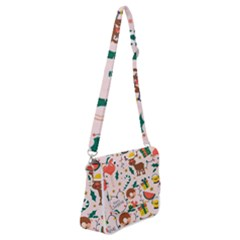 Colorful Funny Christmas Pattern Merry Xmas Shoulder Bag With Back Zipper