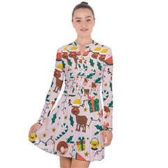 Colorful Funny Christmas Pattern Merry Xmas Long Sleeve Panel Dress
