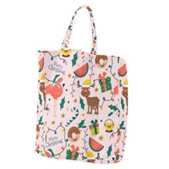 Colorful Funny Christmas Pattern Merry Xmas Giant Grocery Tote