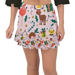 Colorful Funny Christmas Pattern Merry Xmas Fishtail Mini Chiffon Skirt