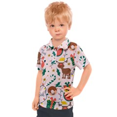 Colorful Funny Christmas Pattern Merry Xmas Kids  Polo Tee