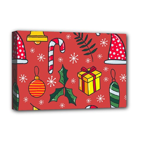 Colorful Funny Christmas Pattern Deluxe Canvas 18  X 12  (stretched)