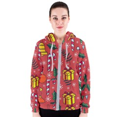 Colorful Funny Christmas Pattern Women s Zipper Hoodie
