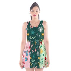 Hand Drawn Christmas Pattern Collection Scoop Neck Skater Dress