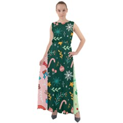 Hand Drawn Christmas Pattern Collection Chiffon Mesh Boho Maxi Dress